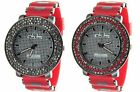 Fashion Iced Out Bezel Hip Hop Big Face Silicon Bullet Band Watch New