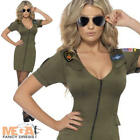 Sexy Top Gun Ladies Fancy Dress 1980s Costume 80s Uniform Army Outfit UK 8-18