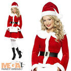 Miss Santa Costume with Muff Ladies Christmas Fancy Dress Party Outfit Costume