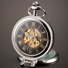 Pocket Watch with Chain Black Steampunk Mechanical Hand Wind Up Movement Cosplay