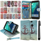 "For Google Pixel 5"" HTC Flip Wallet LEATHER Skin POUCH Case Phone Cover + Pen"