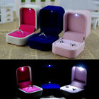 1PC Velvet LED Rounded Square Top-grade Earrings Studs Rings Jewelry Box 5x6cm