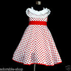 FREE SHIPPING Reds White Christmas Polkadot Flower Girls Party Dresses SIZE 2-8Y