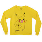 Pokemon Pikachu Classic Jump Logo Licensed Junior's Crew Sweatshirt - Yellow
