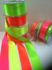 Berisfords D/S Satin Ribbon - NEON FLUORESCENT HI-VIZ - 4 Shades - 3mm to 35mm