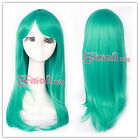 long Teal green Anime straight Cosplay party hair wig CW143I free shipping