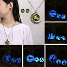 Womens Pendant Necklace Earring Set Jewelry Set Moon Weeding Glow In Dark Gifts