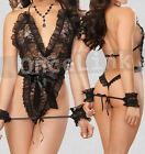 Sexy Babydoll Lace Teddy Lingerie Evening Gowns Chemise Restraints Handcuffs Set