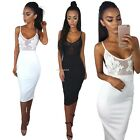Womens Applique Sheer Mesh Bodycon Strappy Ladies Midi Party Dress Size6-14 B20E