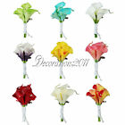 9Color Calla Lily Flower Boutonniere Corsage Wedding Bridal Groomsman Brooch Pin