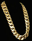 31MM Men Chain Gold Plated Curb Link 316L Stainless Steel Necklace 18-40''HEAVY