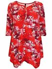 Red Pink & White Stretch Jersey Floral Print Tunic Top Blouse Plus Size 16 to 32
