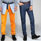 Winter Mens Fleece Jeans Stretchy Flannel Denim Pants Casual Straight Trousers