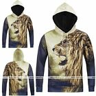 Men's 3D Lion Printing Hoodie Sweater Sweatshirt Pullover Jumpers Tops Blouse EE