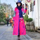 Womens Winter Embroidery Floral Chinese Style Long Thick Padded Coat Maxi Parka
