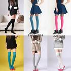Womens High Knee Cotton Plain Black Socks Students Long Socks Size 4-7 White