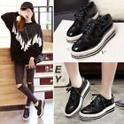 New Women's Korean Leather Sneakers heels Platform Oxfords Boat Casual Shoes