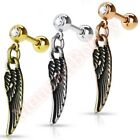 16G Angel Wing Cartilage Tragus Bar Ear Ring Dangle Piercing Stud Body Jewellery