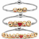 Emoji Charm Bracelet 3 5 10 Bead Gold Plated Great Xmas Birthday Luxury GIFT UK