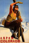 ASPEN COLORADO SKI MOUNTAINS SUNNY DAY WINTER SPORT SKIING VINTAGE POSTER REPRO