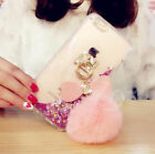 3D Heart Bling Diamond Rabbit Fur Plush Ball Liquid Flowing Phone Case Cover