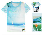 Seascape Mens Cycling Jerseys Short Sleeve Round Top 3D T-Shirt Tops Tee