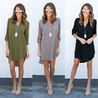 Women Blouse Chiffon Long Sleeve Ladies Shirt Casual Loose Short Dress Tops 6-18