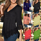 2017 New Lady V Neck Long Sleeve Shirt Casual Lace Blouse Loose Cotton Top S-4XL