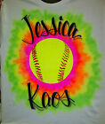 Airbrush Tie Dye Softball T-Shirt w/ Name size S M L XL 2X Airbrushed Shirt
