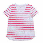Tommy Hilfiger T-shirt Womens V-Neck Tee Striped Short Sleeve White Red New