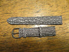 Vintage New Old Stock Distressed Bark Look GENUINE Grey Leather Watch Band 18MM