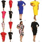 Plus Size Ruffle Dress Flutter Sleeve Bodycon Midi Peplum Cocktail Party Women's