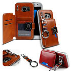 Shock protective Dual Back Flip leather wallet Case cover for iPhone Galaxy LG