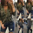 Fashion Womens Loose V Neck T Shirt Long Sleeve Camouflage Tops Blouse Print B20