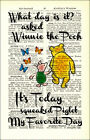 Art Print Antique Dictionary Page Winnie The Pooh Quote My Favourite Day Tigger