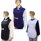 LADIES KITCHEN TABARD CHEF TABARD APRON WITH FRONT POCKET WHITE,BLACK,NAVY BLUE