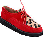 Retro LEOPARD Leo 2-Eye Brogue CREEPER Halbschuhe Rockabilly Retro 50s - Rot