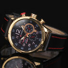 Fashion Curren Men Gold Dial Black Leather Analog Sport Quartz Army Wrist Watch