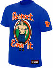 WWE JOHN CENA Respect Earn It Never Give Up AUTHENTIC YOUTH KINDER T-SHIRT