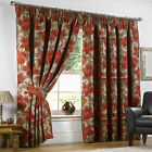 Pair RED WINE BEIGE OLD GOLD Heavy Thick CHENILLE Lined Tape Curtains  66 90