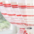 RED CREAM ORGANZA Voile Net Sheer Curtain Panel All Sizes inc Extra Wide Ex Long