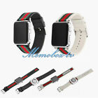 Retro Wrist Bracelet Band Leather & Nylon Strap for Apple Watch iWatch 38/42 mm