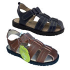 Boys Shoes Grosby Jack Brown Leather Upper Sandals Size 4-12 New Hook and Loop
