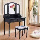 Vanity Makeup Dressing Table Set w/Stool Drawer Folding Mirror Jewelry Desk Wood