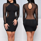 Women Bandage Bodycon Summer Evening Cocktail Party Long Sleeve Mini Dress US