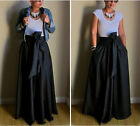 USA Vintage Women Stretch High Waist Flared Pleated Swing Long Maxi Skirt Dress