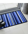 Bright Blue Striped Machine Washable Rug Non Slip Long Life Rubber Backed Mat