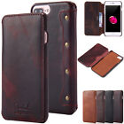 Classic Genuine Leather Wallet Full Protective Flip Case Cover For Iphone 7 Plus