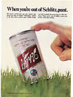Original Print Ad 1969 When youre out of SCHLITZ punt Can Held for Field Goal