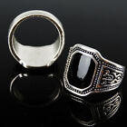 Fashion Alloy Black Large Agate Ring Band Men's Jewelry Wedding Party